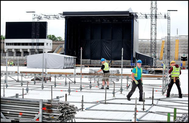 Construction work taking place at Croke Park ahead of the Bruce Springsteen concert. Photo: Steve Humphreys