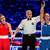 Katie Taylor reacts as the referee raises the hand of her opponent Estelle Mossely in Astana yesterday. Photo: AIBA via Sportsfile