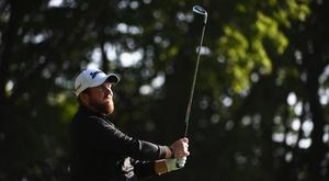 Shane Lowry tees off during day one of the BMW PGA Championship at Wentworth (Photo by Ross Kinnaird/Getty Images)