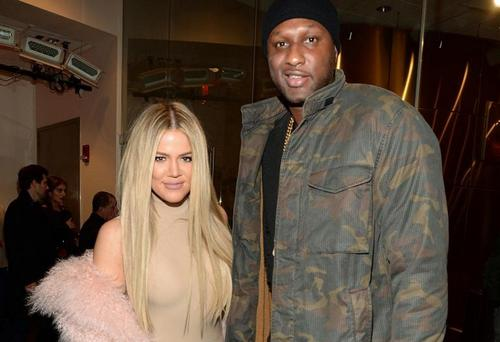 Khloe Kardashian and Lamar Odom at the Yeezy Fashion Show