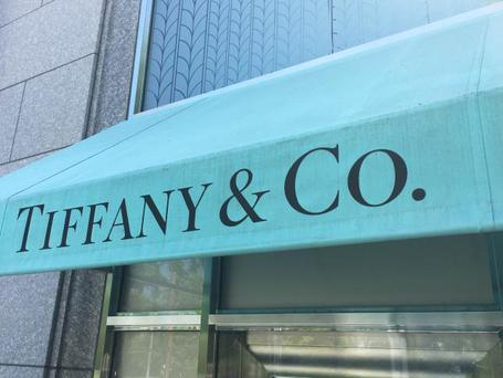 The Tiffany & Co. logo is seen on an awning of their store in Manhasset, New York, U.S., May 23, 2016. REUTERS/Shannon Stapleton