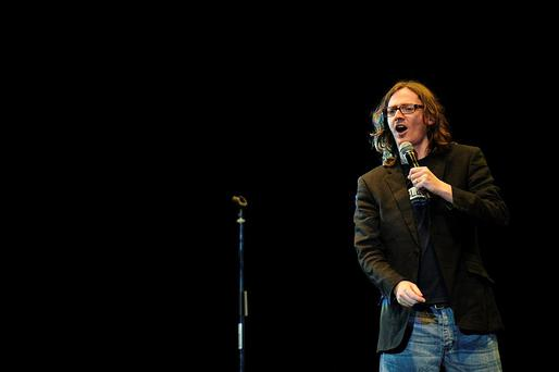LONDON, ENGLAND - OCTOBER 06: Ed Byrne performs during the ZSL Roar With Laughter event at Hammersmith Apollo on October 6, 2012 in London, England. (Photo by Ben Pruchnie/Getty Images)