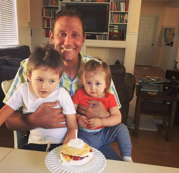 Kristin's late husband Sam with their two children. Photos Instagram @ktripson