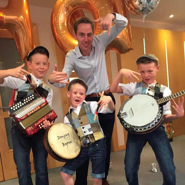 Donegal natives Luca, Finn and Dempsey with Ryan Tubridy