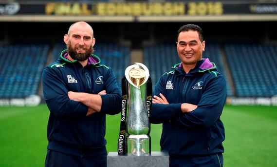Connacht captain John Muldoon and head coach Pat Lam pose with the trophy ahead of the Guinness PRO12 Final between Leinster and Connacht at BT Murrayfield Stadium in Edinburgh, Scotland. Photo by Stephen McCarthy/Sportsfile