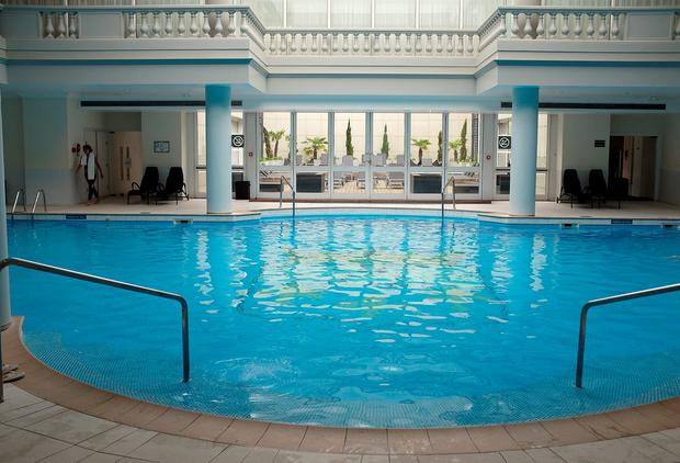 The swimming pool in the Trianon Palace Hotel in Versailles where the Irish soccer team are staying during Euro 2016. Picture: Damien Eagers