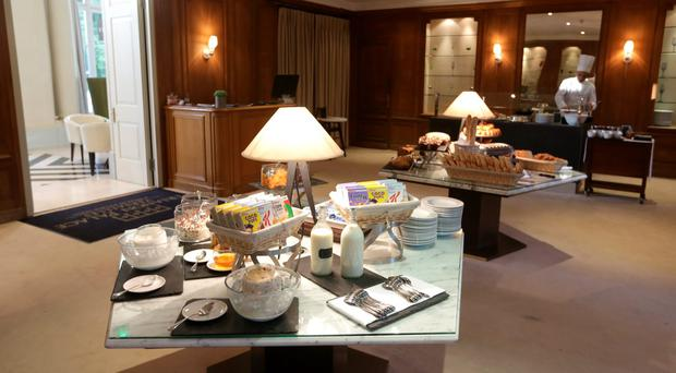 The breakfast area in the Trianon Palace Hotel in Versailles where the Irish soccer team are staying during Euro 2016. Picture: Damien Eagers