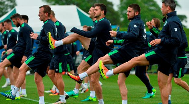 Republic of Ireland players, from left, Glenn Whelan, Shane Long, Robbie Brady and Jonathan Walters during squad training in the National Sports Campus, Abbotstown, Dublin. Photo by David Maher/Sportsfile