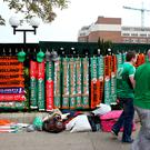 Republic of Ireland scarves on sale outside the ground before the International Friendly at the Aviva Stadium
