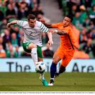 Seamus Coleman of Republic of Ireland in action against Memphis Depay of Netherlands during the 3 International Friendly between Republic of Ireland and Netherlands in the Aviva Stadium, Lansdowne Road, Dublin. Photo by Sam Barnes/Sportsfile