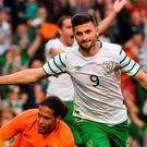 Shane Long of Republic of Ireland celebrates after scoring his side's first goal during the 3 International Friendly between Republic of Ireland and Netherlands in the Aviva Stadium, Lansdowne Road, Dublin. Photo by David Maher/Sportsfile