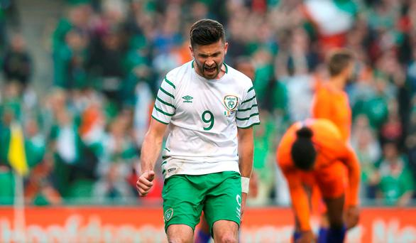 Republic of Ireland's Shane Long celebrates scoring his side's opener