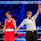 Kellie Harrington is bitterly disappointed after losing to China's Wenlu Yang on a split decision in the light-welterweight (64kg) final at the Women's World Championships in Astana Photo by AIBA via Sportsfile