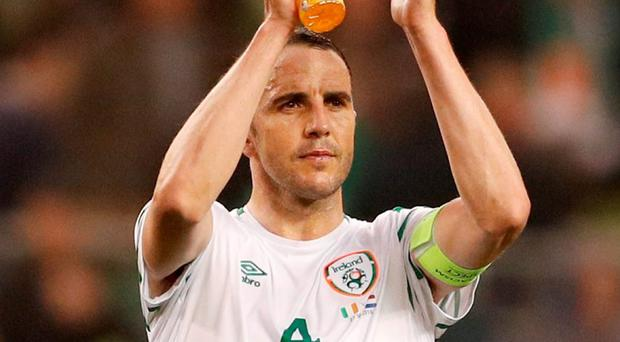 Republic of Ireland's John O'Shea applauds fans at the end of the match. Photo: John Sibley/Action Images via Reuters