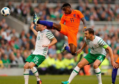Netherlands' Quincy Promes in action as Republic of Ireland's John O'Shea looks on. Photo: John Sibley/Action Images via Reuters