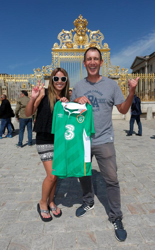 Stefano Kharovni, from Versailles and Marcella Martinez, 32, from Santiago, Chile, pictured in front of the Palace of Versailles, Versailles is where the Republic of Ireland soccer team will be based for the UEFA Euro 2016 Championships. Picture credit; Damien Eagers 25/5/2016