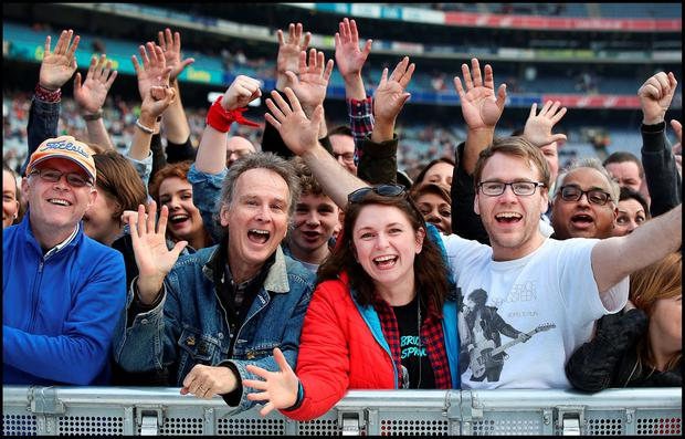 Fans cheer on Bruce Springsteen on stage during The River Tour at Croke Park. Pic Steve Humphreys 27th May 2016