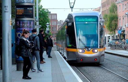General view of Luas arriving at St. Stephen's Green stop