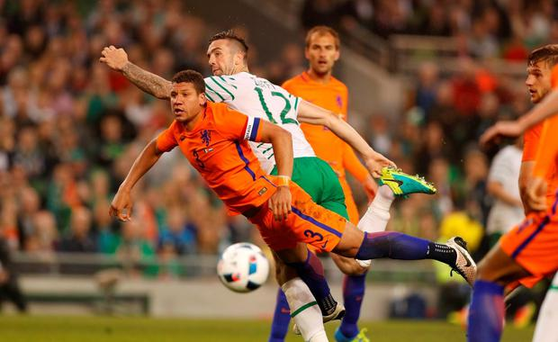 Republic of Ireland's Shane Duffy flashes a header wide last night Action Images via Reuters / John Sibley