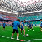 Real Madrid have a training session at tonight's venue in Milan, the famous San Siro stadium