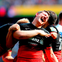 Alex Goode of Saracens celebrates scoring his team's third try against the Exeter Chiefs at Twickenham S (Photo by Matthew Lewis/Getty Images)