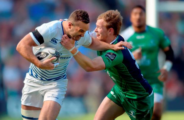 Connacht's Kieran Marmion is held back by Leinster's Dave Kearney during the Guinness PRO12 Final at Murrayfield, Edinburgh. Photo: Jane Barlow/PA Wire.