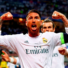 Sergio Ramos of Real Madrid celebrates after scoiring the opening goal during the UEFA Champions League Final match between Real Madrid and Club Atletico de Madrid at Stadio Giuseppe Meazza on May 28, 2016 in Milan, Italy. (Photo by Clive Rose/Getty Images)