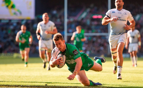 28 May 2016; Matt Healy of Connacht scores his side's third try of the game during the Guinness PRO12 Final match between Leinster and Connacht at BT Murrayfield Stadium in Edinburgh, Scotland. Photo by Ramsey Cardy/Sportsfile