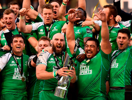 Connacht celebrate their resounding Pro12 victory. Photo: Sportsfile