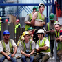 Men at work: Workers take a break from building the Dublin Port Tunnel in 2006. Construction, which was worst hit in the downturn, has recovered fastest and numbers are up 27pc since the trough Photo: Julien Behal/PA