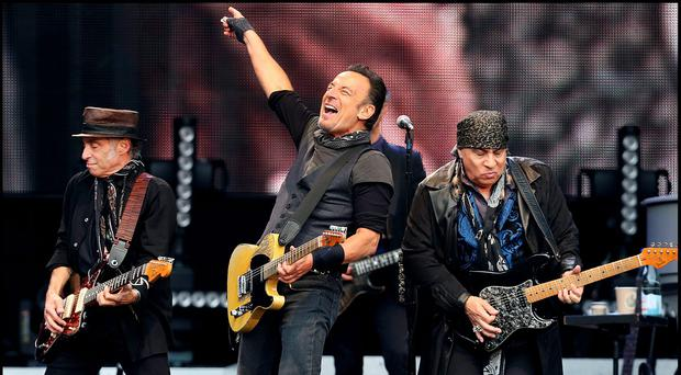 Bruce Springsteen on stage with Nils Lofgren and Steve Van Zandt Photo: Steve Humphreys