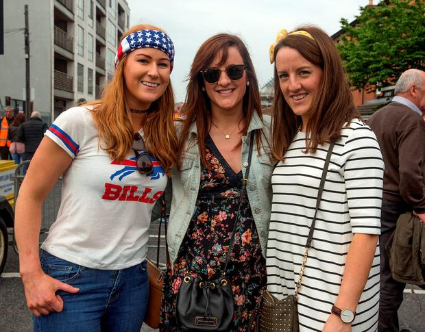 Fans Andrea Kean, 31, Mayo, Orla Clancy, 30, Galway and Ciara Cormican, 30, Galway Photo: Arthur Carron