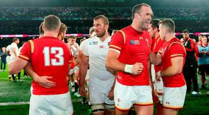 Wales' Jamie Roberts celebrates after Wales' World Cup victory over England at Twickenham last year. Photo: PA
