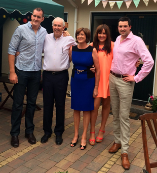 Cherished: Peter Toner with his son Devin (left) wife Anne, daughter Emma and son Darragh