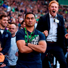 Connacht head coach Pat Lam watches the closing stages of the game as Darragh Leader celebrates during the Guinness PRO12 Final. Photo by Stephen McCarthy/Sportsfile