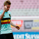 Belgium's Kevin De Bruyne celebrates after scoring against Switzerland. REUTERS