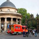 A fire truck is parked at the entrance to Monceau parc in the center of Paris, France. (AP Photo/Francois Mori)
