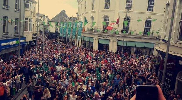 Thousands thronged the streets of Galway this evening