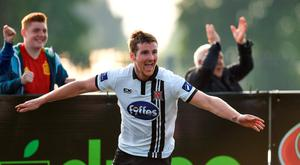 Patrick McEleney of Dundalk celebrates after scoring his side's 3rd goal in the SSE Airtricity League Premier Division match between Dundalk and Wexford Youths at Oriel Park, Dundalk, Co. Louth. Photo by Paul Mohan/Sportsfile