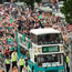 The Connacht team bus passes through Eyre Square in Galway during the Connacht rugby homecoming after their Guinness Pro12 League victory. Photo: Diarmuid Greene/Sportsfile