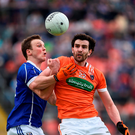 Gearoid McKiernan and Armagh's Aaron Findon battle for possession in yesterday's Ulster SFC quarter-final. Photo: Sportsfile