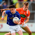 Darragh Kennedy of Cavan in action against Rian O'Neill of Armagh. Photo: Sportsfile
