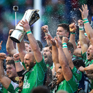Connacht captain John Muldoon lifts the trophy following his side's victory in the Guinness PRO12 final against Leinster at Murrayfield. Photo: Ramsey Cardy/Sportsfile