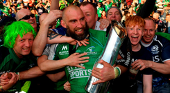 John Muldoon is embraced by supporters after Connacht's victory. Photo: Stephen McCarthy/Sportsfile