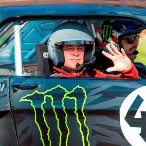 Matt LeBlanc (left) and rally driver Ken Block (right) during filming of BBC Top Gear. Photo: Dominic Lipinski/PA Wire