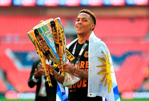 Hull City's Abel Hernandez celebrates with the trophy after the Championship Play-Off final at Wembley. Photo: Nigel French/PA