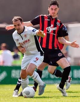 Christy Fagan of St Patrick's Athletic in action against Bohemians's Eoin Wearen during the SSE Airtricity League Premier Division match. Photo: David Maher/Sportsfile