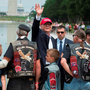 Republican presidential candidate Donald Trump waves to veterans and supporters after an event at the annual Rolling Thunder 'Ride for Freedom' parade ahead of Memorial Day in Washington, DC, yesterday. Photo: Andrew Caballero-Reynolds/AFP/Getty Images