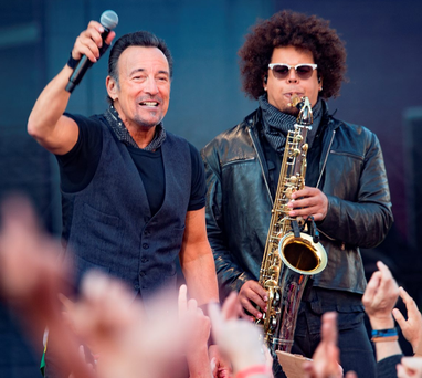 Bruce Springsteen and the E Street Band on stage last night in the second of his sell-out gigs Photo: Arthur Carron