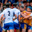 Tony Kelly, centre, and Shane O'Donnell of Clare, tussles with Waterford's, from left, Jamie Barron, Barry Coughlan, Darragh Fives and Kevin Moran during the National Hurling League Final replay earlier this month. Photo: Sportsfile